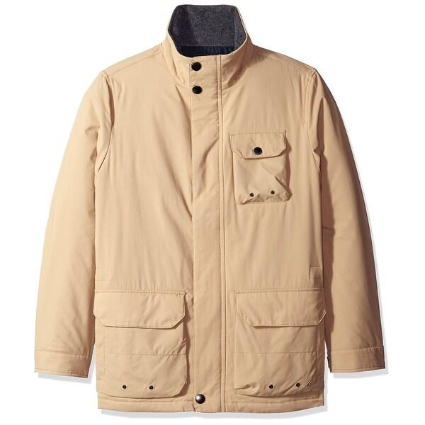 Nautica Beige Mens Size Large L Water-Resistant Mock Neck Jacket