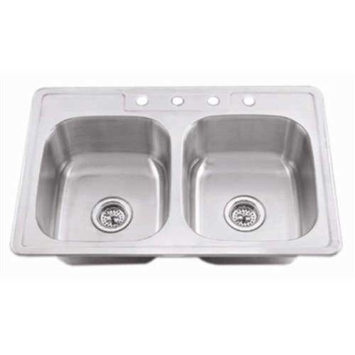 Proflo Pfsr3321653 33 Double Bowl Stainless Steel Kitchen Sink With 50 Basin