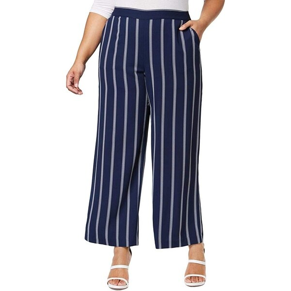Charter Club Women's Blue Size 1X Plus Wide Leg Striped Pants Stretch