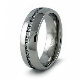 Men's Stainless Steel Wedding Ring w/ CZ's