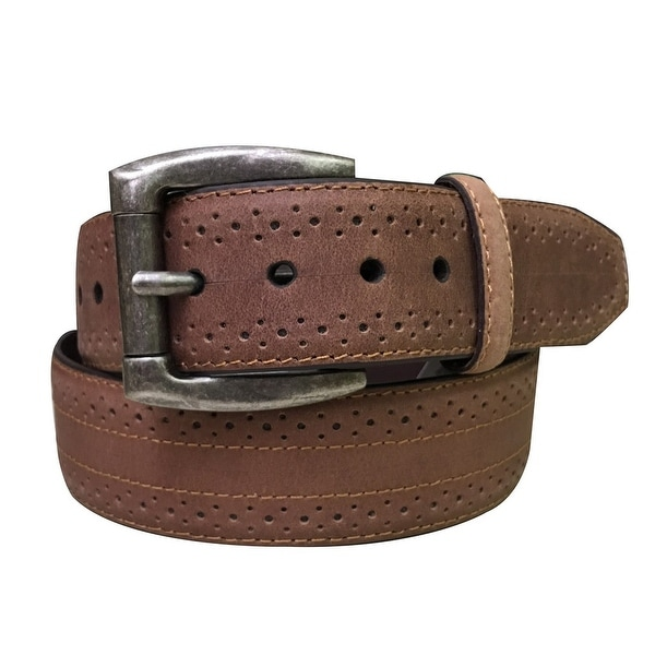 G-BAR-D Western Belt Mens Perforated Roller Padded Brown