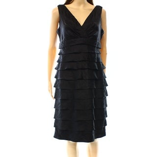 London Times NEW Black Women's Size 10 Glossy Surplice Tiered Dress