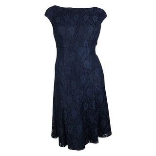 Lauren Ralph Lauren Women's V-Back Flared Lace A-Line Dress - Navy - 18W