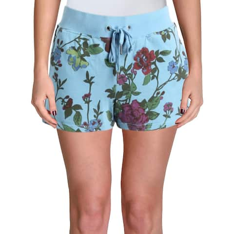 Pam & Gela Womens Casual Shorts Floral Print Knit - M