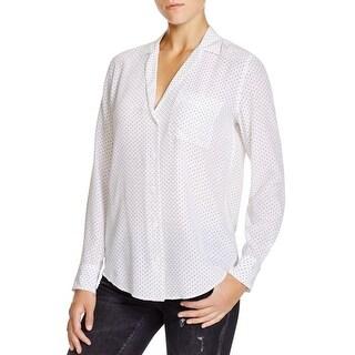 Equipment Womens Button-Down Top Polka Dot Silk