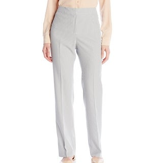 Kasper NEW White Women's Size 4X32 Seersucker Flat Front Dress Pants