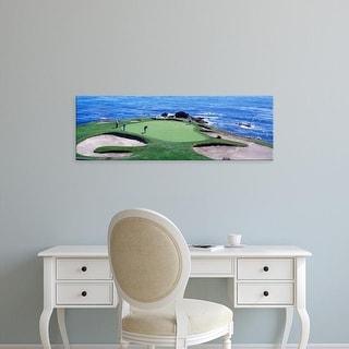 Easy Art Prints Panoramic Images's 'Golfers Pebble Beach, California, USA' Premium Canvas Art