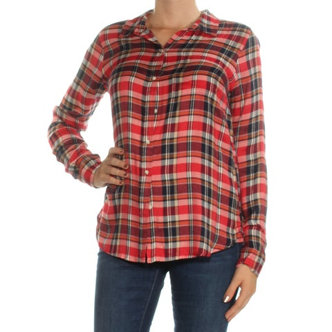LUCKY BRAND Womens Red Plaid Long Sleeve Collared Button Up Top Size: M