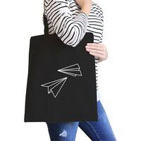 Paper Airplane Black Canvas Bag Gifts Ideas For BFF Tote Bags