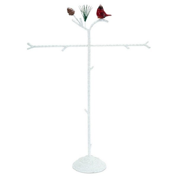 """Set of 2 Red and White Snowy Cardinal Christmas Ornament Branch Display Table Top Pieces 22"""""""