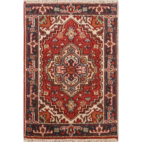 "Geometric Rust Heriz Oriental Home Decor Area Rug Wool Hand-Knotted - 2'0"" x 3'1"""