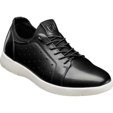Stacy Adams Men's Halden Cap Toe Sneaker Black Burnished Smooth Leather