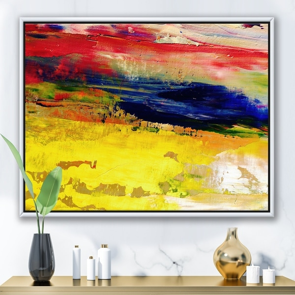 Designart 'Oil On Canvas Textured Composition II' Modern & Contemporary Framed Canvas Wall Art Print. Opens flyout.