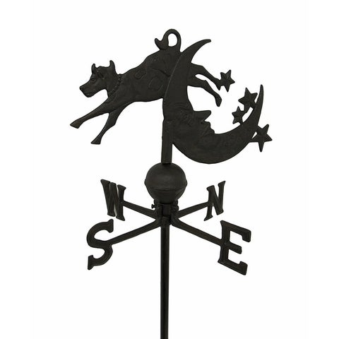Cow Jumping Over Moon Cast Iron Weather Vane Garden Stake