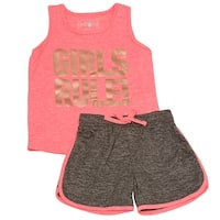 "Little Girls Neon Orange Gold ""Girls Rule!"" Tank Top 2 Pc Shorts Outfit"