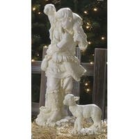 2-Piece Joseph's Studio Shepherd Gabriel and Lamb Outdoor Christmas Nativity Statue Set - WHITE