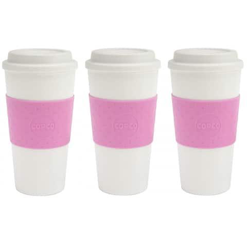 Copco Acadia Reusable BPA Free Plastic Travel Mug 16 Oz 3 Pack, Bubble Gum Pink - Bubble Gum Pink
