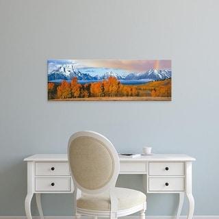 Easy Art Prints Panoramic Image 'Autumn tree, Oxbow Bend, Teton Range, Grand Teton National Park, Wyoming' Canvas Art