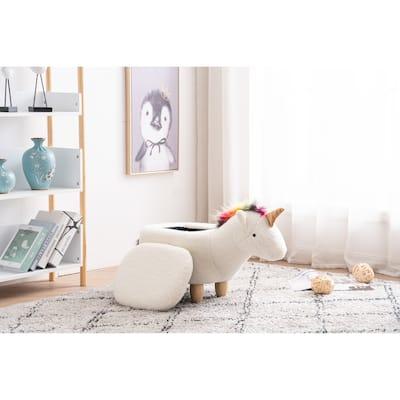 Uma the Unicorn Storage Upholstered Kids Ottoman