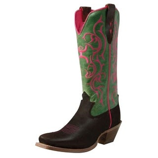 HOOey Western Boots Womens Cowboy Square Toe Brown Lime WHY0004