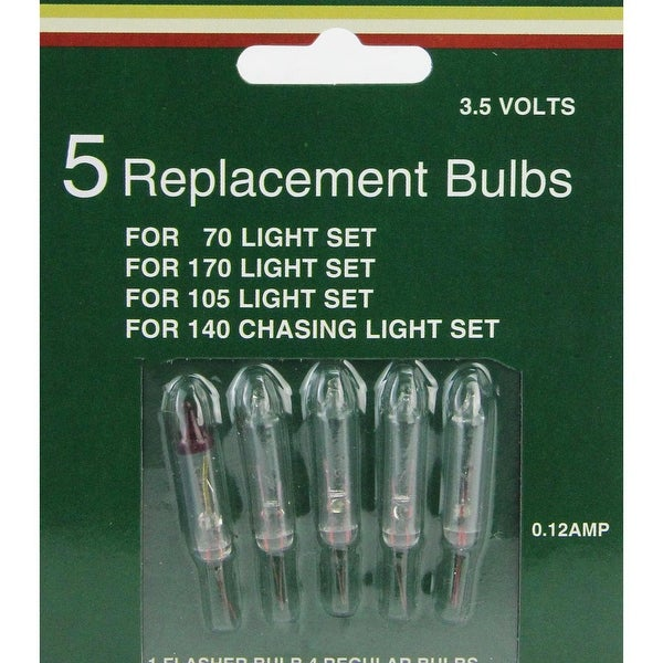 Set of 5 Mini Christmas Replacement Bulbs - Clear