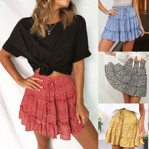Women's High Waist Ruffled Floral Beach A Word Skirt