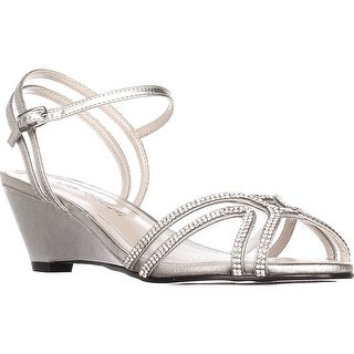 Caparros Hilton Low-Heel Dress Wedge Sandals, Silver Metallic