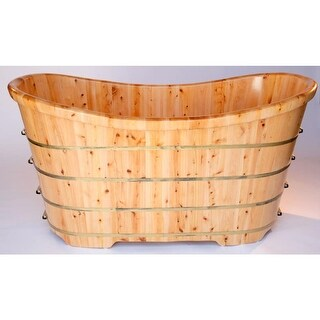 "ALFI brand AB1105 63"" Cedar Soaking Bathtub for Freestanding Installations with - Natural Wood"