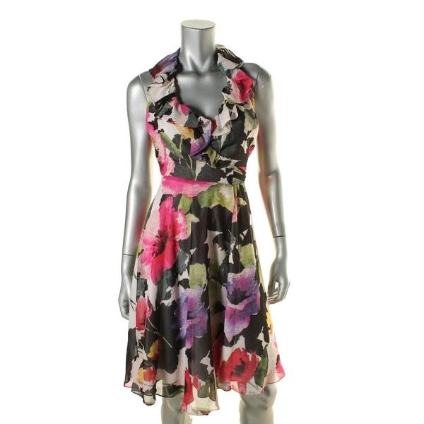 Lauren Ralph Lauren Womens Casual Dress Ruffled Wrap