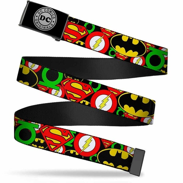 Dc Originals Reverse Brushed Silver Cam Justice League Stacked Logos Web Belt