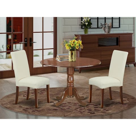 Round 42 Inch Table and Parson Chairs in Cream Linen Fabric (Number of Chairs Option)