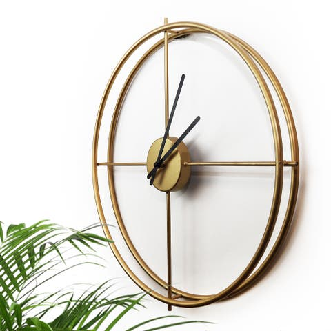 "Walplus Minimalist 20"" Gold Black Iron Wall Clock Simple Home Decoration"