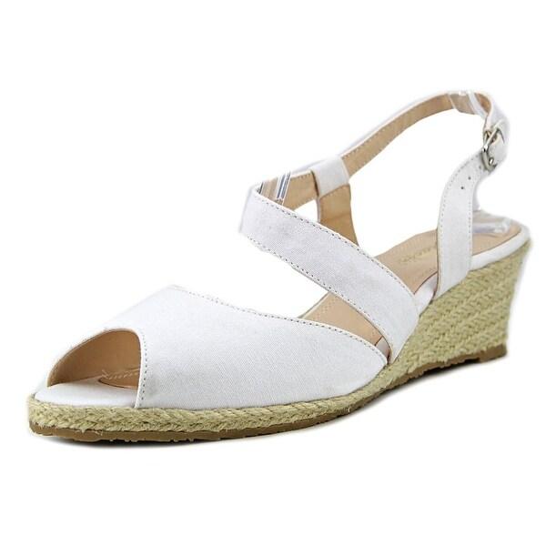 Beacon Bonita Women W Open Toe Canvas White Wedge Sandal