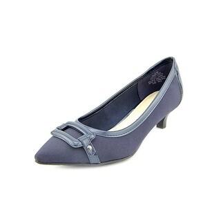 Anne Klein Melanie Round Toe Canvas Heels