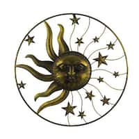 Antique Gold Finish Metal Sun and Stars Wall Decor 36 Inch