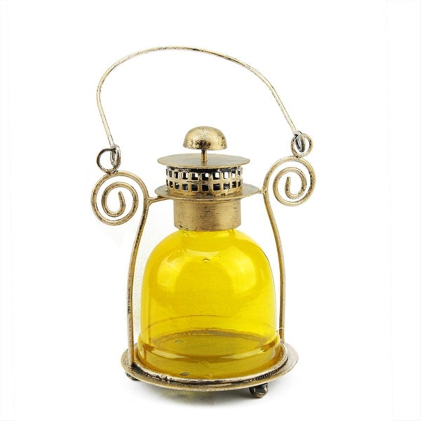 "7.5"" Decorative Yellow Glass Bell Tea Light Candle Holder Lantern"