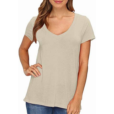 Lamade Womens T-Shirt Tan Beige Size XS Solid V-Neck Short Sleeve