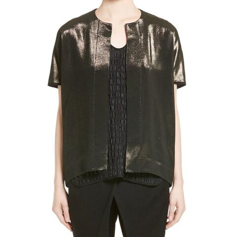 Maria Cornejo NEW Gold Womens Size 8 Shimmer Hook + Eye Shrug Jacket