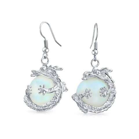 Gemstone Large Round Ball Orb Dragon Dangle Earrings For Women