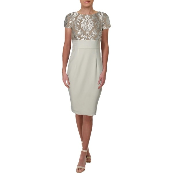 Adrianna Papell Womens Cocktail Dress Embroidered Special Occasion