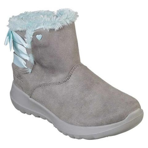Skechers Girls' On the GO Joy Bow-Riffic Cool Weather Boot Charcoal/Light Blue