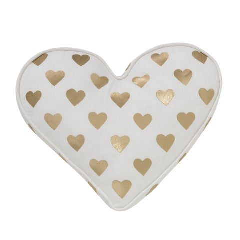 Lambs & Ivy Baby Love Decorative Pillow - Gold, White, Love, Hearts, Modern, Girl