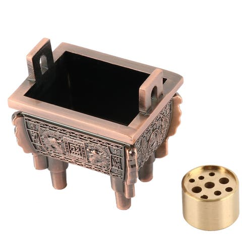 Household Living Room Metal 9 Holes Incense Stand Holder Container Copper Tone
