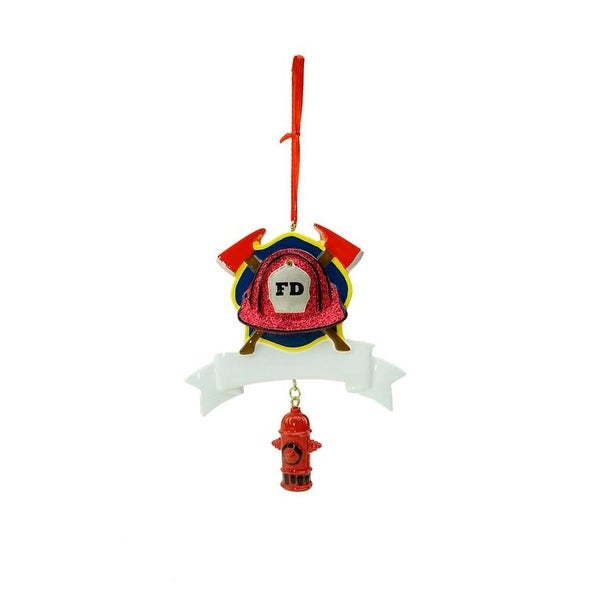 """4.5"""" Firefighter's Hat with Axes Hanging Christmas Ornament for Personalization - RED"""