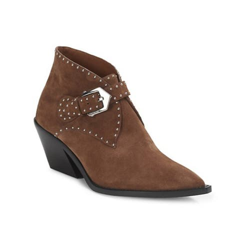 Givenchy Women's Suede Leather Elegant Studded Western Ankle Boots Brown