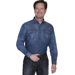 Scully Western Shirt Mens Long Sleeve Snap Roll-Up Tabs Denim PS-118