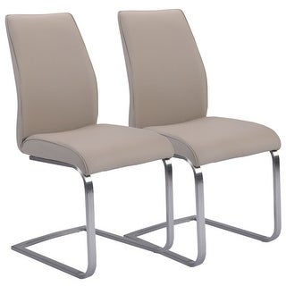 Costway 2 Pcs Dining Chairs High Back Gray PU Leather Furniture Modern Seat