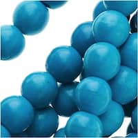 Blue Turquoise Gemstone 6mm Round Beads - 16 Inch Strand
