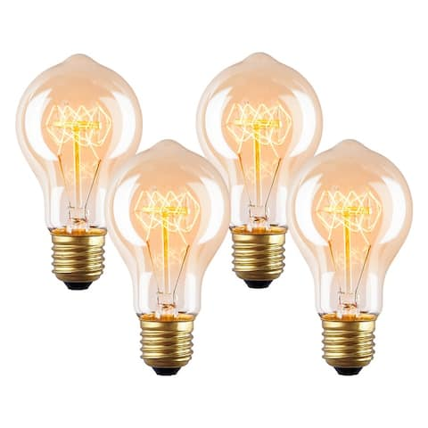 Light Society Darby A19 Vintage Edison Bulbs 40W, Set of 4 - Amber