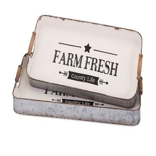 Set of 2 Tan Brown and Alabaster White Country Fresh Farm Decorative Trays 11.5""